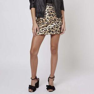 Topshop Metallic Leopard Print Mini Skirt 12